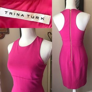 pink sleeveless sheath dress, trina turk